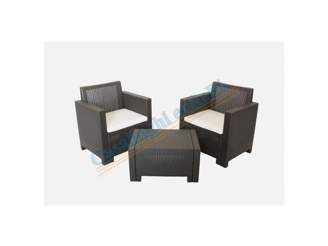 *SET ALABAMA TERRACE MOKA DIVANO    SALOTTO 2 POLTRONE 1 TAVOLIN