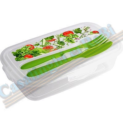 PORTAVIVANDE C/POSATE LUNCH BOX    CM.23X14X6 17964