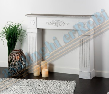 Console caminetto bianco 110x23x96h 37352 star313 for Finto camino shabby